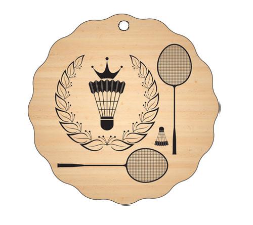 Medalja gravirana na les - BADMINTON
