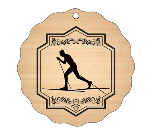 Medalja gravirana na les - BIATLONEC