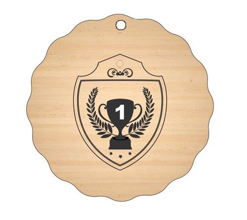 Medalja gravirana na les - POKAL