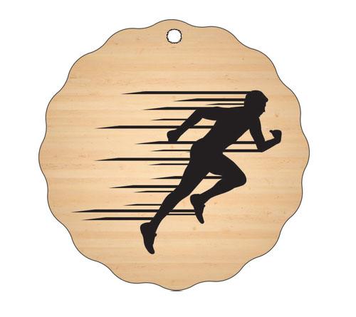 Medalja gravirana na les - TEKAČ